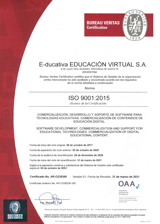 Certificado de calidad. OAA-9001-2015 AR-O238360