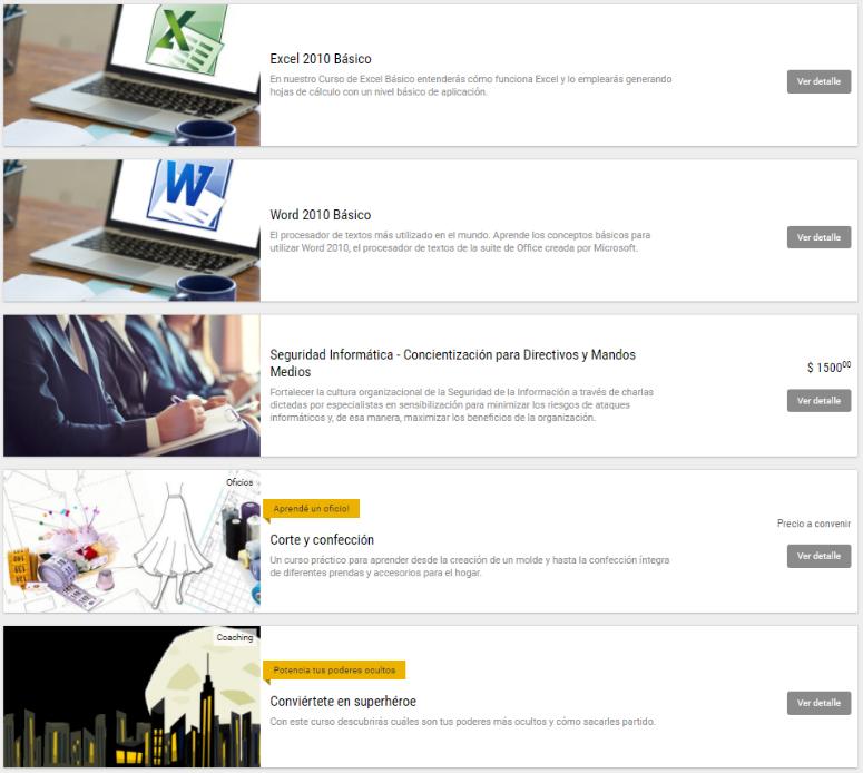 Catálogo, lista de cursos disponibles